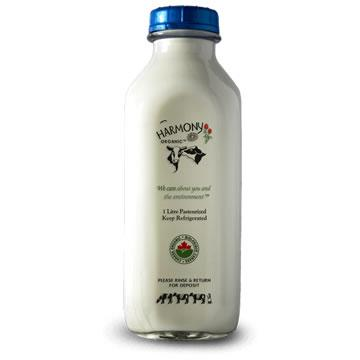 Harmony Organic Dairy, 2% Partly Skimmed Milk - Glass Bottle (1L)