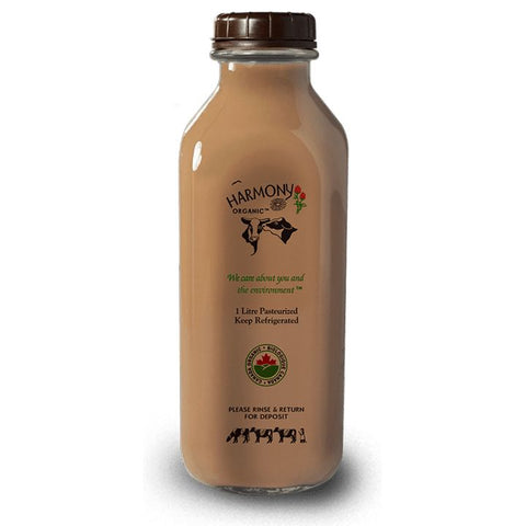 Harmony Organic Dairy, 3.8% Chocolate Milk - Glass Bottle (1L)