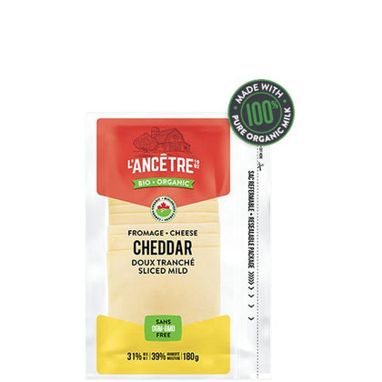 L'Ancêtre Cheese, Organic Mild Cheddar Slices (180g)