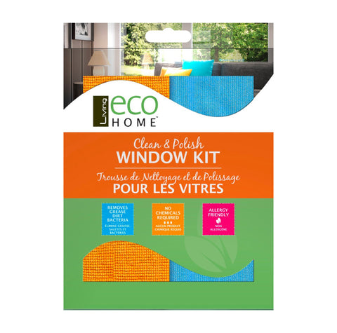 Living Eco Home, Clean & Polish Window Kit (2 Clothes)
