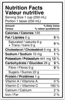 Nutrition Facts Label – Happy Planet, Organic Valencia Orange Juice (1.75L)