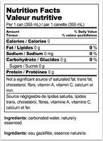 Nutrition Facts: La Croix, Coconut Sparkling Water (Case / 8 x 355ml)