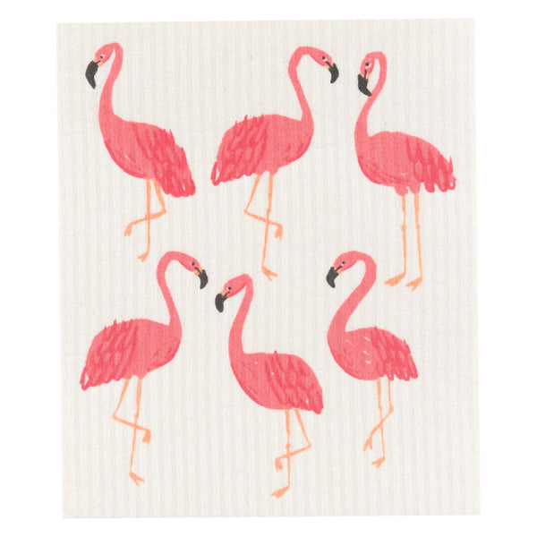 Now Designs, Swedish Reusable Sponge Cloth | Flamingos (Qty 1)