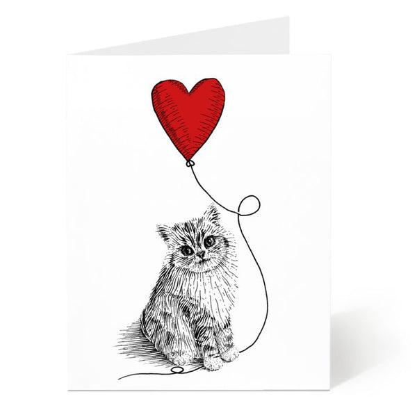Ostockley, Cat with Heart Balloon Greeting Card (Qty 1)