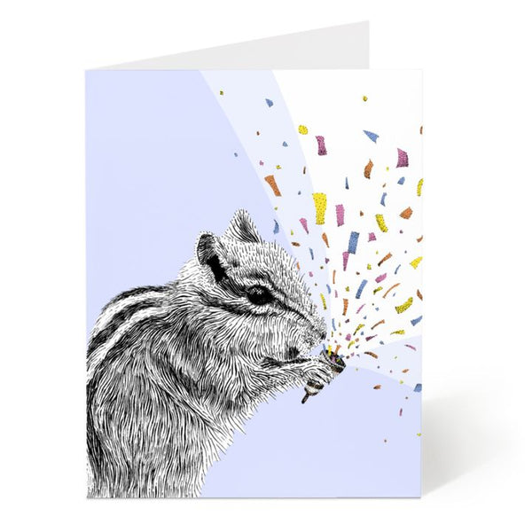 Ostockley, Chipmunk with Confetti Greeting Card (Qty 1)