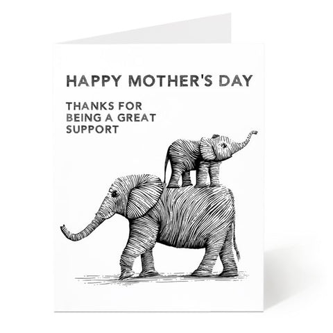 Ostockley, Mother's Day Elephants Greeting Card (Qty 1)