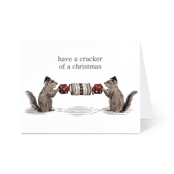 Ostockley, Squirrels with Cracker Greeting Card (Qty 1)