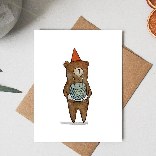 Paper Canoe, Birthday Bear Greeting Card (Qty 1)
