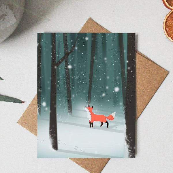 Paper Canoe, First Snowfall Greeting Card (Qty 1)
