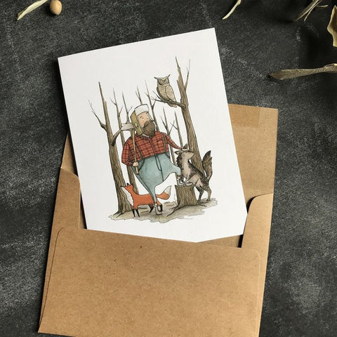 Paper Canoe, The Woodsman Greeting Card (Qty 1)
