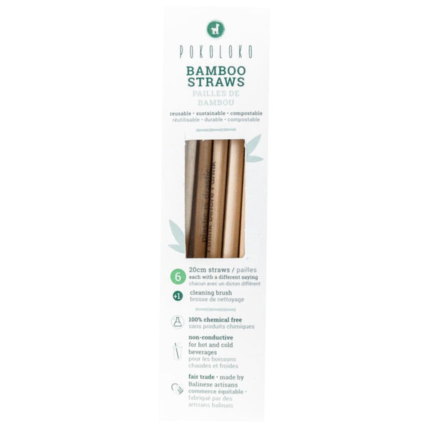 Pokoloko, Biodegradable Bamboo Straws (Pack of 6) + Cleaning Brush