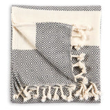 Pokoloko, Lined Diamond Hand Towel | Slate