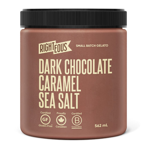 Righteous, Dark Chocolate Caramel Sea Salt Gelato (562mL)