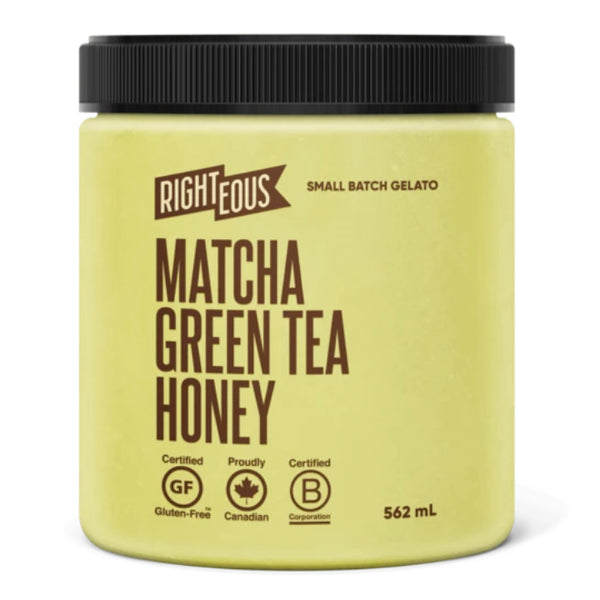 Righteous Gelato, Matcha Green Tea Honey (562ml)