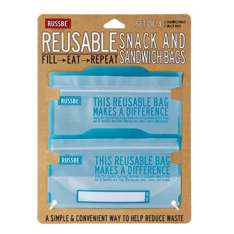 Russbe, Reusable Snack & Sandwich Bags - Blue (Set of 4)