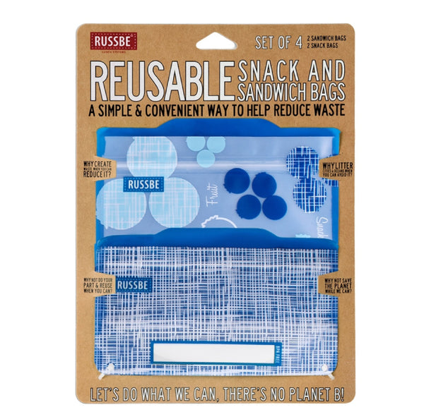 Russbe, Reusable Snack & Sandwich Bags - Blueberry (Set of 4)