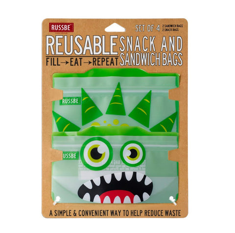Russbe, Reusable Snack & Sandwich Bags - Green Monster (Set of 4)