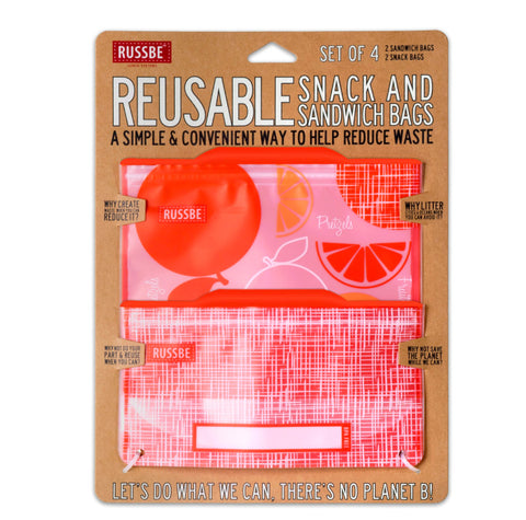 Russbe, Reusable Snack & Sandwich Bags - Orange (Set of 4)