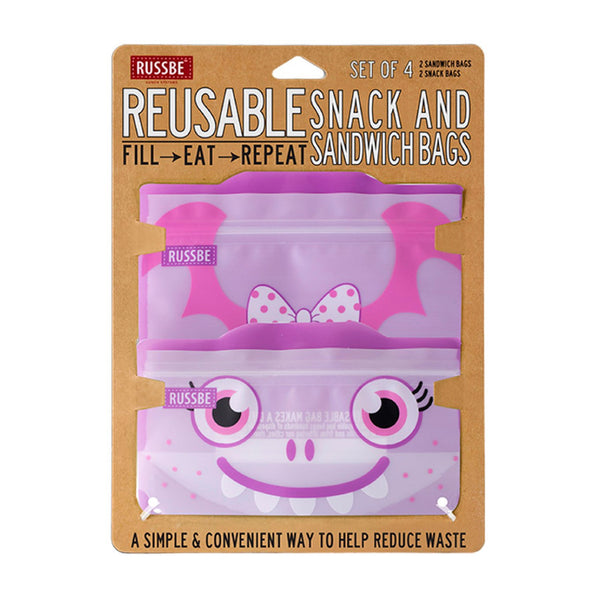 Russbe, Reusable Snack & Sandwich Bags - Purple Monster (Set of 4)