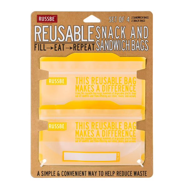 Russbe, Reusable Snack & Sandwich Bags - Yellow (Set of 4)