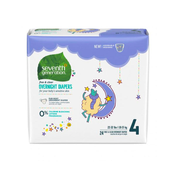 Seventh Generation, Overnight Diapers - Stage 4 (22-32 lbs)