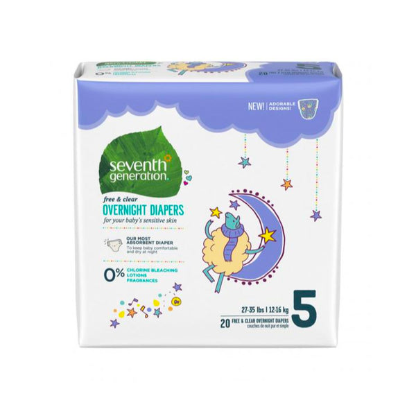 Seventh Generation, Overnight Diapers - Stage 5 (27-35 lbs)