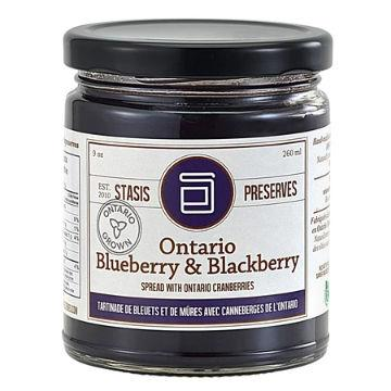 Stasis Preserves, Ontario Blueberry & Blackberry Spread with Ontario Cranberries (260mL)