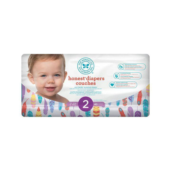 The Honest Co., Size 2 Diapers | Feathers (40 Count)