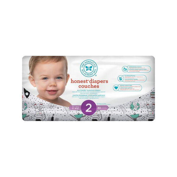 The Honest Co., Size 2 Diapers | Space Travel (40 Count)