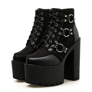 Gothic Platform Heels Motorcycle Boots