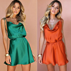 Janice Fancy Satin Silk Backless Dress
