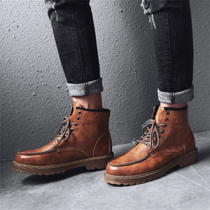 Vintage Leather Army Ankle Boots for Men