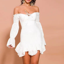 Load image into Gallery viewer, Lace Off Shoulder Lantern Sleeve Dress