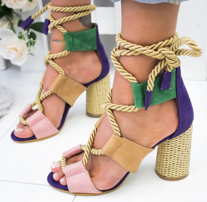 Suede High Heel Lace Up Sandals