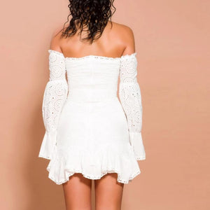 Lace Off Shoulder Lantern Sleeve Dress