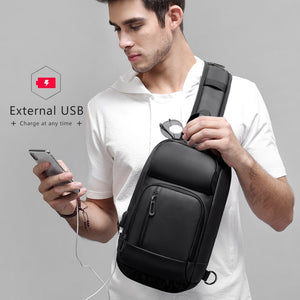 Multipocket Casual Crossbody Bag with USB Charging Port