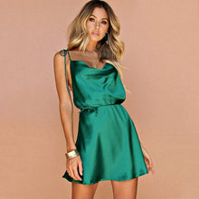 Load image into Gallery viewer, Janice Fancy Satin Silk Backless Dress