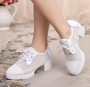 Bendable Fishnet Style Wedge Dance Shoes