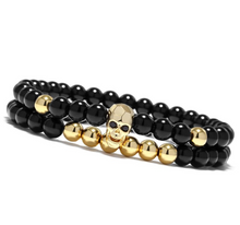 Load image into Gallery viewer, Black Smiling Skull Bracelet