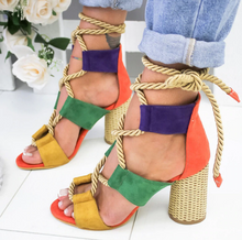 Load image into Gallery viewer, Suede High Heel Lace Up Sandals