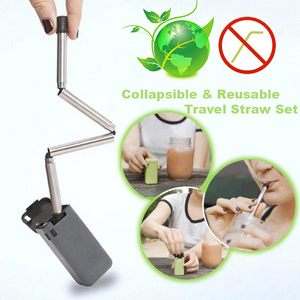 Collapsible & Reusable Travel Straw Set