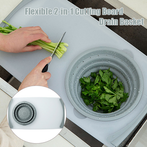 Flexible 2-in-1 Cutting Board with Drain Basket
