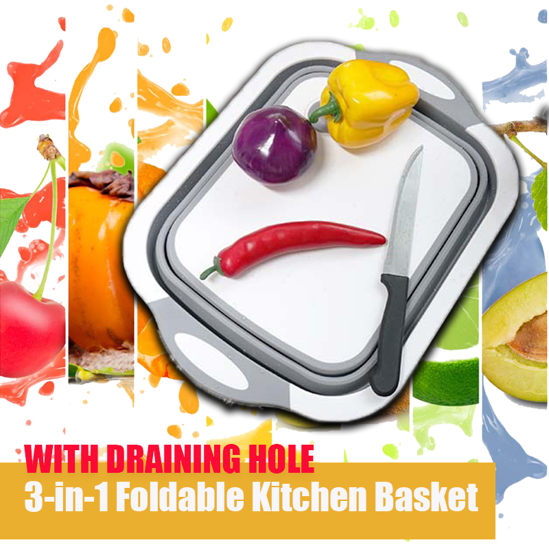 3-in-1 Foldable Kitchen Basket with Draining Plug