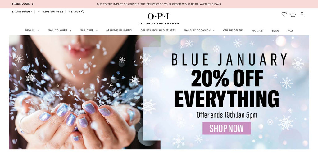 shopify beauty stores: OPI