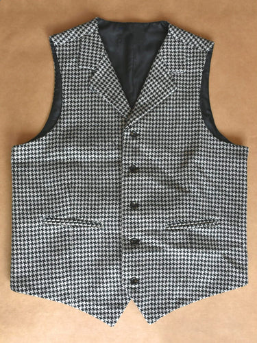 Men's Vest Made to Order Houndstooth Wool Blend Tailored Collar 2 Pockets 5 Buttons