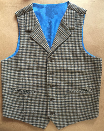 Houndstooth Mens Vest Made to Order Wool Blend Tailored Collar 2 Pockets 5 Buttons