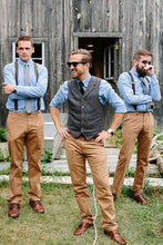 Load image into Gallery viewer, Men's Vest Made to Order Wedding Groomsmen Waistcoat Tailored Collar 2 Pockets 5 Buttons