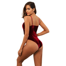 Load image into Gallery viewer, Spaghetti Straps Velvet Bodysuit Top Leotard