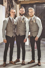 Load image into Gallery viewer, Brown Herringbone & Satin Men's Vest Made to Order Wedding Groomsmen Waistcoat 3 Pockets