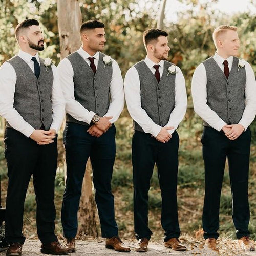 Charcoal Grey Herringbone Men's Vest Made to Order Wedding Groomsmen Waistcoat